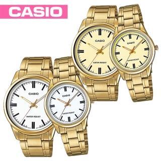 【CASIO 卡西歐】送禮首選-甜蜜情侶浪漫對錶(MTP-V005G+LTP-V005G)