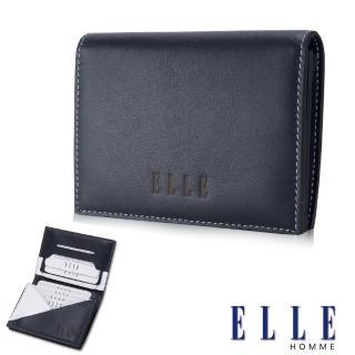 【ELLE HOMME】法式精品名片皮夾幾何菱型白邊點綴元素設計嚴選頭層皮(藍EL81879-42)