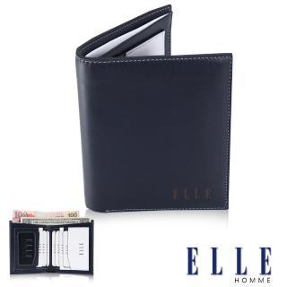 【ELLE HOMME】法式精品短皮夾幾何菱型白邊點綴元素設計嚴選頭層皮、名片格層(藍EL81882-42)