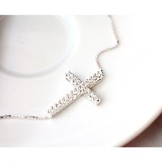 【微笑安安】時尚滿鑽橫十字架925純銀項鍊