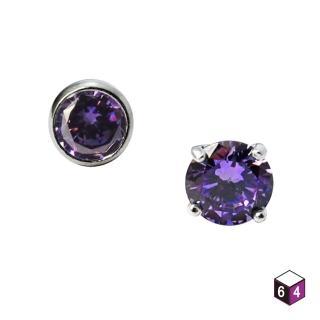 【ART64】純銀耳環  紫色鑽6mm一對(鑲鑽耳環)