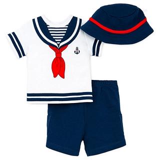【Little Me】短袖上衣+短褲+遮陽帽 套裝3件組 - 藍白水手 款(#LLJ003184N)