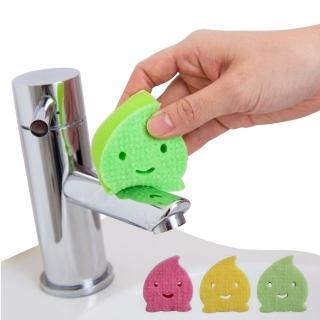 【日本製造AISEN】黏貼式洗臉台水滴海綿刷(2包裝)