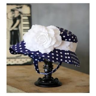 【美國 Fancy That Hat】大花朵抗UV太陽防曬帽/太陽帽_藍白點點/白玫瑰(FTH02)