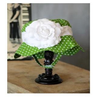 【美國 Fancy That Hat】大花朵抗UV太陽防曬帽/太陽帽_綠白點點/白玫瑰(FTH05)