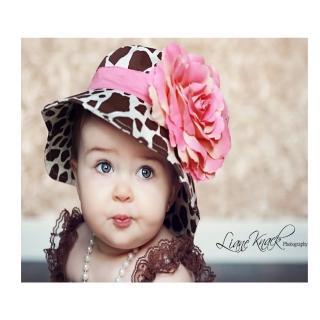 【美國 Fancy That Hat】大花朵抗UV太陽防曬帽/太陽帽_長頸鹿紋/粉橘玫瑰(FTH14)