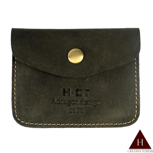 【H-CT】瘋馬皮鐵灰色小口袋真皮零錢包(PUM1463-G-Z)