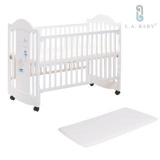 【美國 L.A. Baby】達拉斯嬰兒床/搖擺中床/童床/原木床(白色)