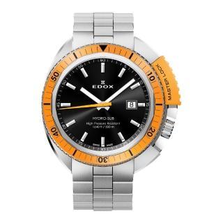 【EDOX】Hydro Sub 北極潛水500米石英腕錶-黑x橘框(E53200.3OM.NIN)