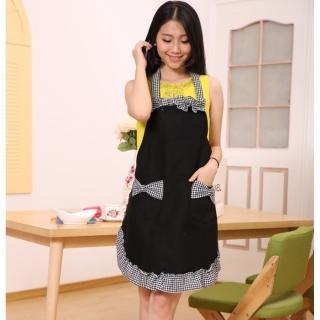 【蘿林嚴選】可愛韓版女僕圍裙(黑紅2色)