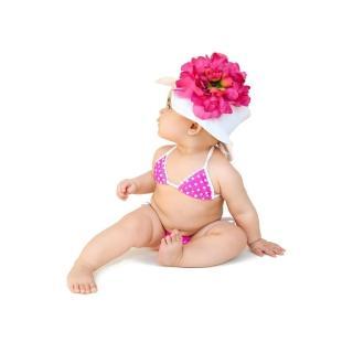 【美國 Jamie Rae】嬰幼兒/女童100%純棉防曬遮陽帽_白色遮陽帽+覆盆子大牡丹(JRSHPW02)