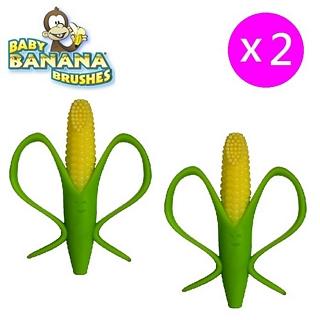 【美國 Baby Banana Brush】玉米造型軟性學習牙刷/固齒器 2入特惠組