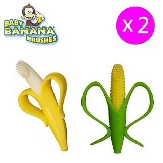 【美國 Baby Banana Brush】香蕉玉米造型軟性學習牙刷/固齒器 2入組