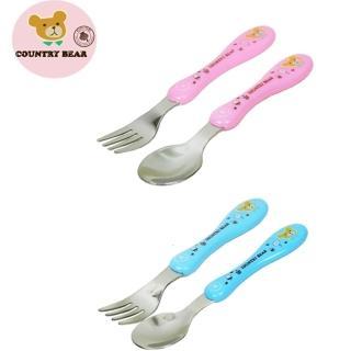 【鄉村熊餐具12件組合】幼兒不繡鋼匙叉餐具2入組X6組(粉紅組X3+水藍組X3)