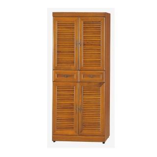 【Bernice】實木樟木色百葉2.5尺高鞋櫃