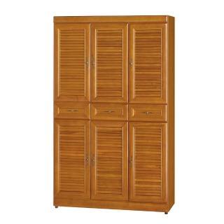【Bernice】實木樟木色百葉3.7尺高鞋櫃