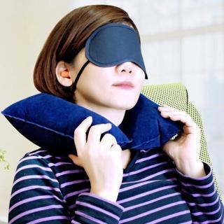 【生活King】3合1旅行優眠組(眼罩+耳塞+充氣頸枕)