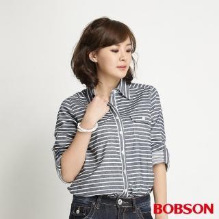 【BOBSON】女款條紋長袖襯衫(藍條34137-53)
