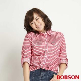 【BOBSON】女款條紋長袖襯衫(紅條34137-13)