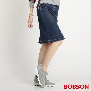 【BOBSON】女款牛仔中長裙(藍D098-53)