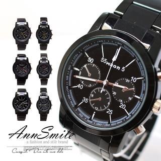 【微笑安安】時尚黑仿3眼潛水錶造型金屬錶帶腕錶(兩款各3色)