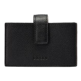 【BALLY】BOHLY經典LOGO防刮牛皮壓紋釦式票卡/證件名片夾(6175072001-BLACK)