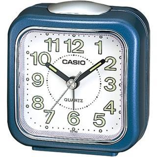 【CASIO 卡西歐】CASIO 復古圓弧輕巧指針鬧鐘-藍(TQ-142-2DF)