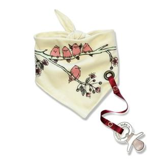 【加拿大Electrik Kidz】櫻花後綁式有機棉圍兜(附奶嘴鏈)
