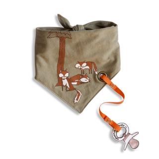 【加拿大Electrik Kidz】小狐狸後綁式有機棉圍兜(附奶嘴鏈)