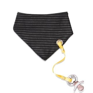 【加拿大Electrik Kidz】黑灰條紋後扣式有機棉圍兜(附奶嘴鏈)