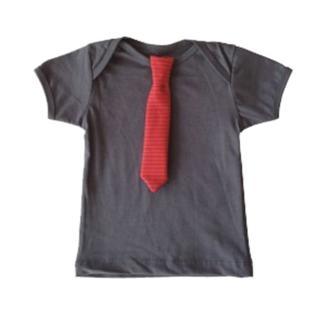 【加拿大Electrik Kidz】鐵灰素色T恤with紅色小領帶(短袖T恤)