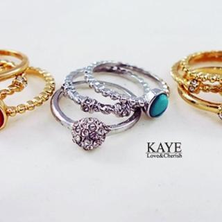 【Kaye歐美流行飾品】復古造型水鑽戒指 三入一組