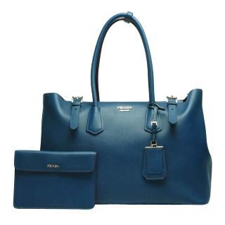 【PRADA】金屬立體LOGO小牛皮手提子母包 藏藍x紅-附萬用小袋(BR5071-BLUETTE)