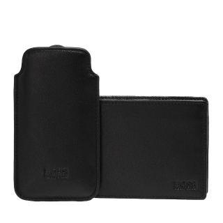 【HUGO BOSS】壓紋牛皮多卡折疊短夾 黑-附IPHONE5手機保護套(50248916-001)
