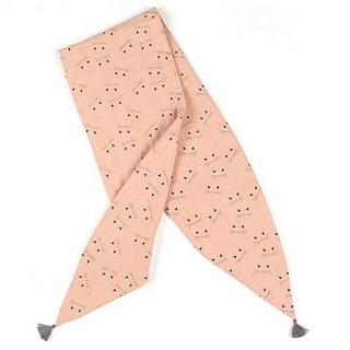 【法國 Louise Misha 精品】粉色小貓花樣圍巾