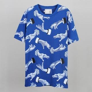 【摩達客】韓國進口EXO合作設計品牌DBSW Hand Drops手掉了藍色(純棉短T短袖T恤時尚潮T)