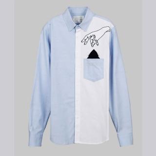 【摩達客】韓國進口EXO合作設計品牌DBSW Pickpocket趴手 藍白(時尚純棉男士修身長袖襯衫)