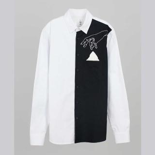 【摩達客】韓國進口EXO合作設計品牌DBSW Pickpocket趴手 黑白時尚(純棉男士修身長袖襯衫)