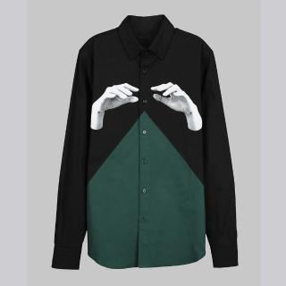 【摩達客】韓國進口EXO合作設計品牌DBSW Color Composer組色者黑綠(純棉男士修身長袖襯衫)