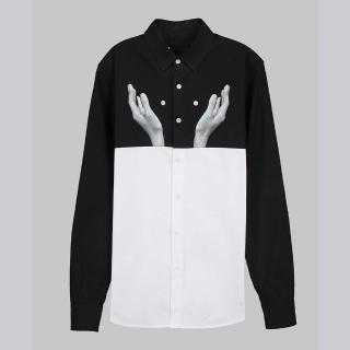 【摩達客】韓國進口EXO合作設計品牌DBSW Button Juggler扣子戲法黑白(純棉修身長袖襯衫)