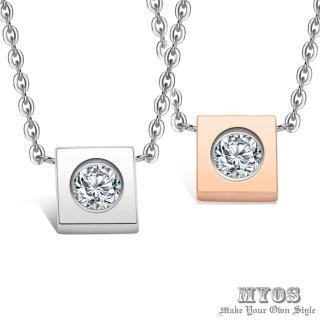 【MYOS】方形 珠寶白鋼項鍊(2色可選)