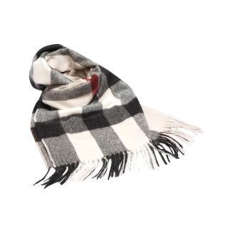 【BURBERRY】經典方格紋喀什米爾羊毛披肩/圍巾 石灰色(3786939-TRENCH-CHECK)