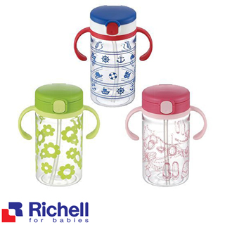 【BabyTiger虎兒寶】Richell LC 戶外吸管水杯 200ML(粉.綠.藍三色)