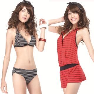 【SAIN SOU】大女比基尼三件式泳裝(附泳帽A93408)