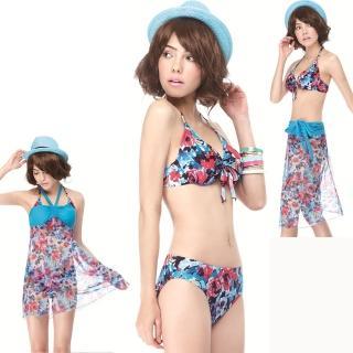 【SAIN SOU】大女比基尼三件式泳裝(附泳帽A93410)
