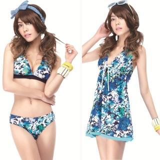 【SAIN SOU】大女比基尼三件式泳裝(附泳帽A93413)