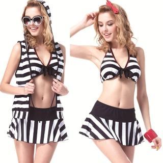 【SAIN SOU】大女比基尼四件式泳裝(附泳帽A94306)