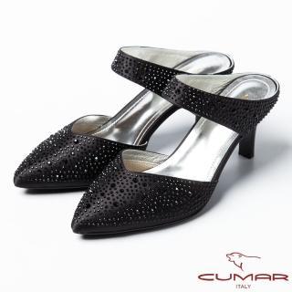 【CUMAR】CUMAR復古奢華 鑲鑽扣環式高跟涼鞋(黑)