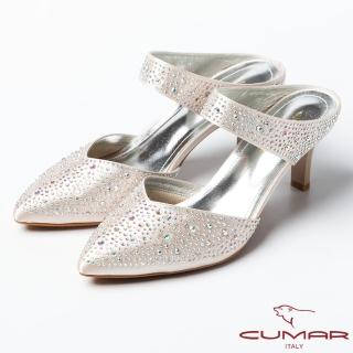 【CUMAR】CUMAR復古奢華 鑲鑽扣環式高跟涼鞋(金)
