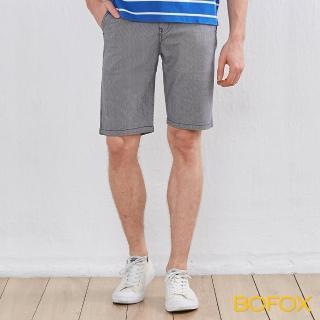 【BOFOX 寶狐】直條紋休閒短褲(灰)